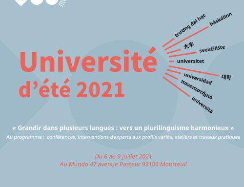Université d'été 2021 – «Grandir dans plusieurs langues : vers un plurilinguisme harmonieux»